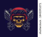 yellow skull biker wearing moto ...   Shutterstock .eps vector #1843391071