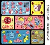 games doodle banners. vector... | Shutterstock .eps vector #184345571