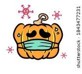 halloween 2020   pumpkin... | Shutterstock .eps vector #1843477231