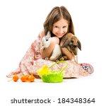 easter photo. happy little girl ... | Shutterstock . vector #184348364