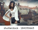 smart brunette woman with the...   Shutterstock . vector #184350665