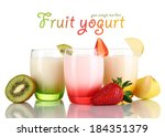 delicious yogurts with fruits...   Shutterstock . vector #184351379