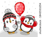 Two Cute Cartoon Penguins With...