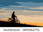 male cyclist on the e bike or...   Shutterstock .eps vector #1843563751