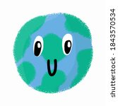 doodle planet earth with big... | Shutterstock .eps vector #1843570534