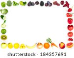 rainbow collection of fruits... | Shutterstock . vector #184357691