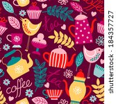 "seamless pattern of ""tea and... 