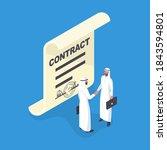 two arab businessmen shake... | Shutterstock .eps vector #1843594801