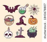 set of haloween illustrations.... | Shutterstock .eps vector #1843678807
