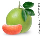 Red Pomelo Citrus Fruit With...