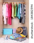 female clothes in wardrobe and... | Shutterstock . vector #184382594