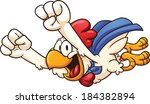cartoon super chicken flying.... | Shutterstock .eps vector #184382894