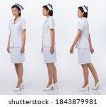 asian woman wear nurse white... | Shutterstock . vector #1843879981