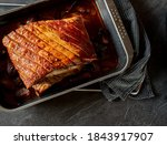 Overhead view of roasted pork...