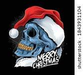 christmas skull wearing santa...   Shutterstock .eps vector #1843931104