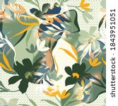 seamless watercolor flower...   Shutterstock . vector #1843951051