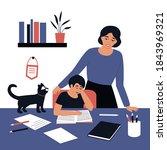 mom watch son read a book.... | Shutterstock .eps vector #1843969321