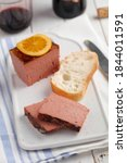 sliced duck pate topped with...   Shutterstock . vector #1844011591
