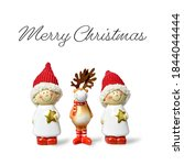 cute christmas elves and... | Shutterstock . vector #1844044444