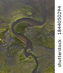 Aerial View Of Meandering River ...