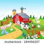 farm background with animals | Shutterstock .eps vector #184406207