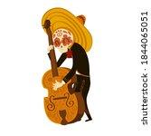 mexican musician skeleton in... | Shutterstock .eps vector #1844065051