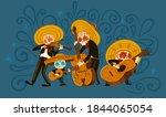 mexican musician skeletons... | Shutterstock .eps vector #1844065054