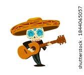 mexican musician skeleton in... | Shutterstock .eps vector #1844065057