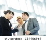 business people with tablet in...   Shutterstock . vector #184406969