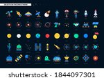 space objects   colorful flat... | Shutterstock .eps vector #1844097301