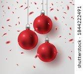 red christmas ball  falling...   Shutterstock .eps vector #1844222491