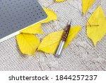 school notebook on a fabric... | Shutterstock . vector #1844257237