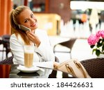 business woman outside on a... | Shutterstock . vector #184426631
