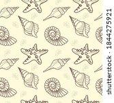 shells and starfish seamless... | Shutterstock .eps vector #1844275921