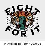 burning globe inside tiger head ... | Shutterstock .eps vector #1844283931