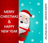 christmas santa claus stands on ... | Shutterstock . vector #1844424694
