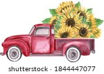 Watercolor Red Retro Truck With ...