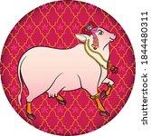 holy cow in kalamkari indian...   Shutterstock .eps vector #1844480311