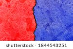 Small photo of Opposed colors texture banner, abstract political election conflicts concept background, e.g., USA, Republican party red color VS Democratic party blue color pattern painted on weathered cracked wall