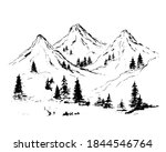 mountains with pine trees and... | Shutterstock .eps vector #1844546764