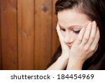 tearful young woman | Shutterstock . vector #184454969