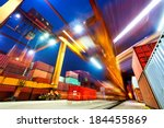 industrial port with containers | Shutterstock . vector #184455869