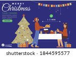 family dinner at christmas time ... | Shutterstock .eps vector #1844595577