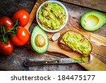 guacamole with bread and... | Shutterstock . vector #184475177