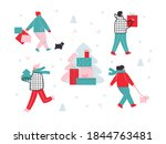 christmas sale. people flat... | Shutterstock .eps vector #1844763481