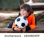boy with football soccer  ... | Shutterstock . vector #184480409