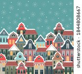 christmas winter card with old... | Shutterstock .eps vector #1844808667