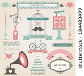 vintage collection of vector... | Shutterstock .eps vector #184483499