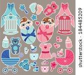 a set of cute cartoon elements... | Shutterstock .eps vector #184485209