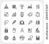 art and graphic design icons set